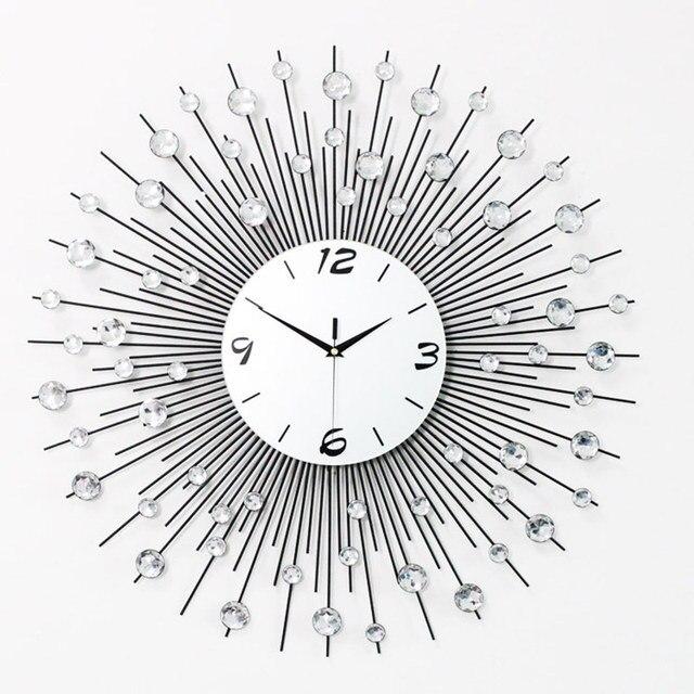 65 cm 75 cm m nage fer horloge murale design moderne muet. Black Bedroom Furniture Sets. Home Design Ideas