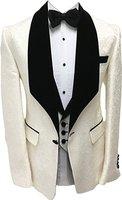 Ivory Groomsmen Groom Tuxedos Shawl Velvet Lapel Men Suits Wedding Best Man Blazer ( Jacket+Pants+Bow Tie+Vest ) C198