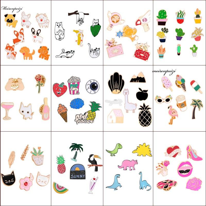 16 видов стилей эмаль Булавки красочные коробки Шпильки набор значок Броши воротник Значки
