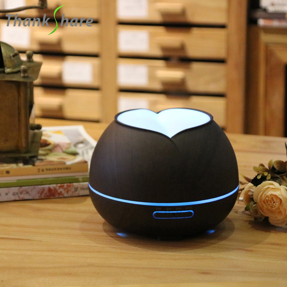 THANKSHARE Essential Oil Aroma Diffuser Air Humidifier Mist Maker Aromatherapy Wood Grain for Home 7 Color LED light 300ml