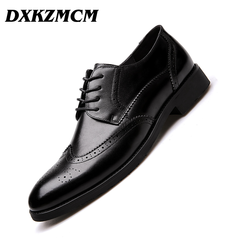 DXKZMCM Handmade Genuine Leather Men Brown Formal Shoes Office Business Wedding Dress Loafers Shoes