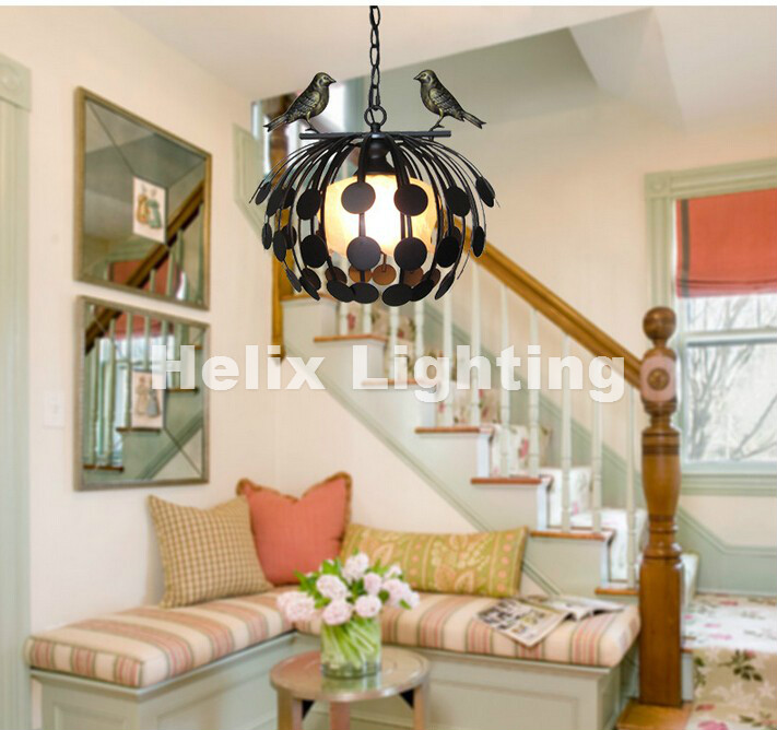 New Arrival Free Shipping Nordic Bird Design Pendant Light Black and White Decorative Pendant Lamp Indoor Iron D380mm Size