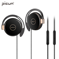 Picun Sports Running Earphones Mobile Phone Earpieces Stereo Bass Music Wired Headset Headphone With Micrphone MP3