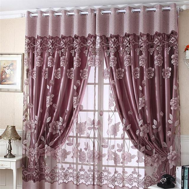 Hot flower print tulle sheer door window decor curtains drape scarf valance
