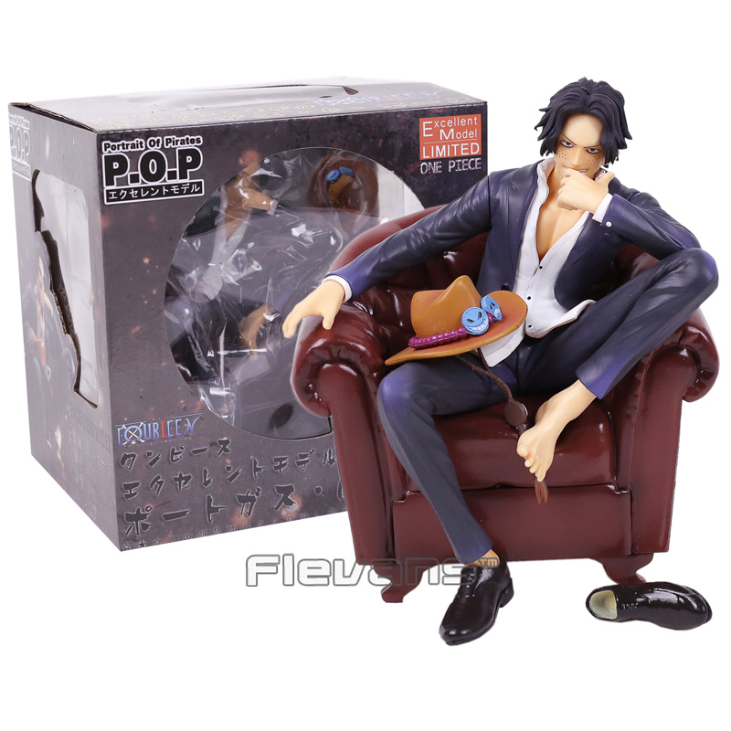 Anime One Piece Portgas D Ace with Sofa PVC Figure Collectible Model Toy 15cm one piece ace action figures fire fist diy one piece anime pvc figurine led bulb portgas d ace collectible model t