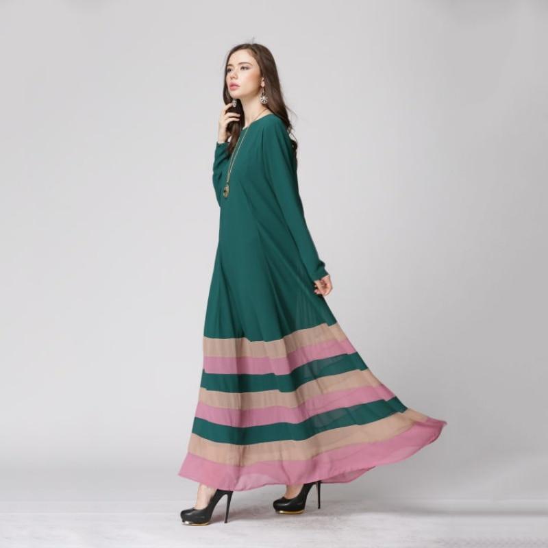 2018 New Fashion Womens Sheer Chiffon Islamic Wear Abaya Jilbab Hijab Muslim Rainbow Dress ZT1 T2