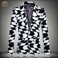 Большой Размер Печати Плед Blazer Мужчины Марка Одежды 5XL 4XL черный Белый Мужчины Blazer Дизайн Slim Fit Хлопок Блейзер Masculino 2017