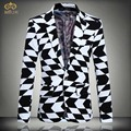 Large Size Print Plaid Blazer Men Brand Clothing 5XL 4XL Black White Men Blazer Designs Slim Fit Cotton Blazer Masculino 2017