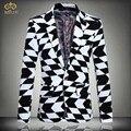 Tamanho grande Impressão Xadrez Blazer 4XL 5XL Roupas Dos Homens Da Marca Projetos Homens Blazer Slim Fit Blazer De Algodão preto Branco Masculino 2017