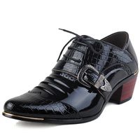 Italian Luxury Brand Men Dress Shoes Patent Leather High Heels Business Shoes Pointed Toe Male Wedding