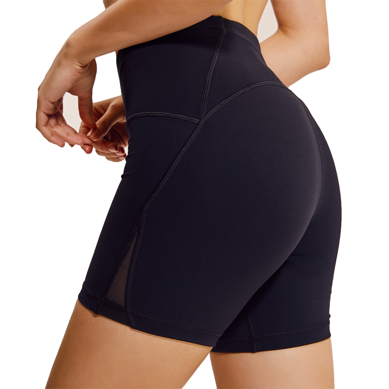 Yoga Shorts Female Tight Solid High Waist Running Fitness Shorts Mesh Breathable Quick Dry Sports Shorts