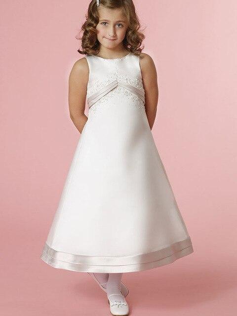 2018 Beautiful White A Line Kids Evening Gowns Satin Applque Flower ...