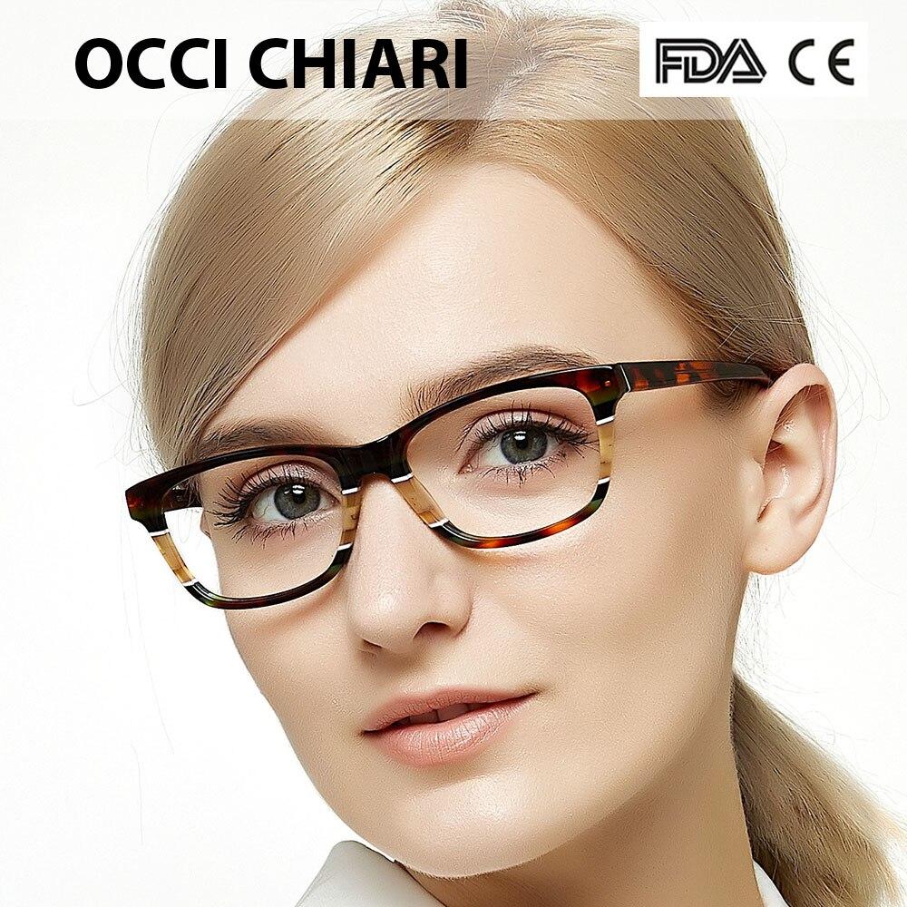 OCCI CHIARI Optical Glasses Frames Women Optical Eyeglasses Frames Acetate Eyewear Full Rim Fashion Spectacles Female CEINO