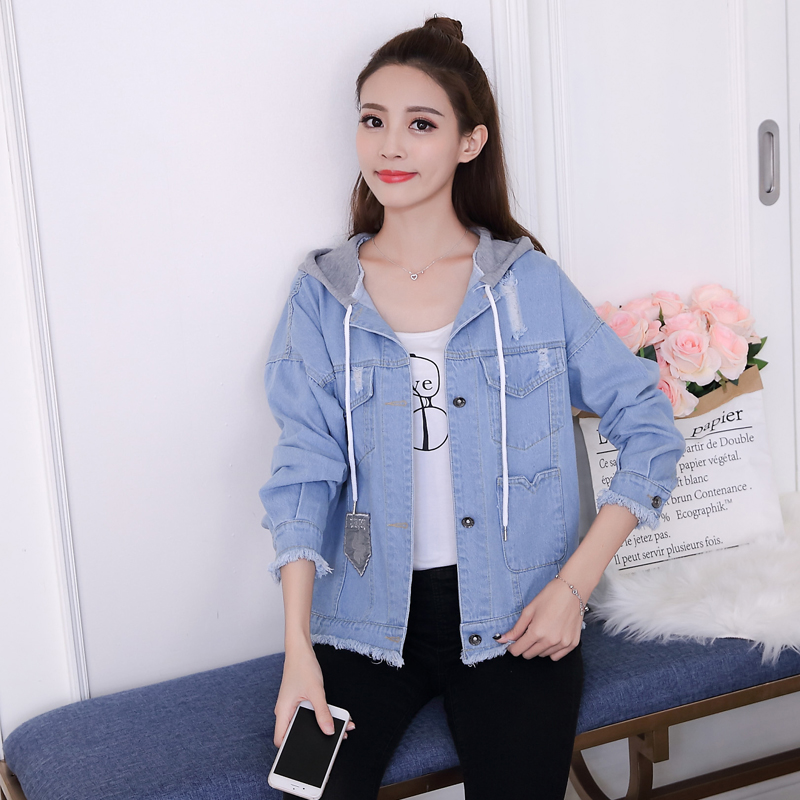 woman jacket spring 2019 New cowboy coat fashion Hooded Tops thin popular women's denim jackets Youth clothing for women 1240 44