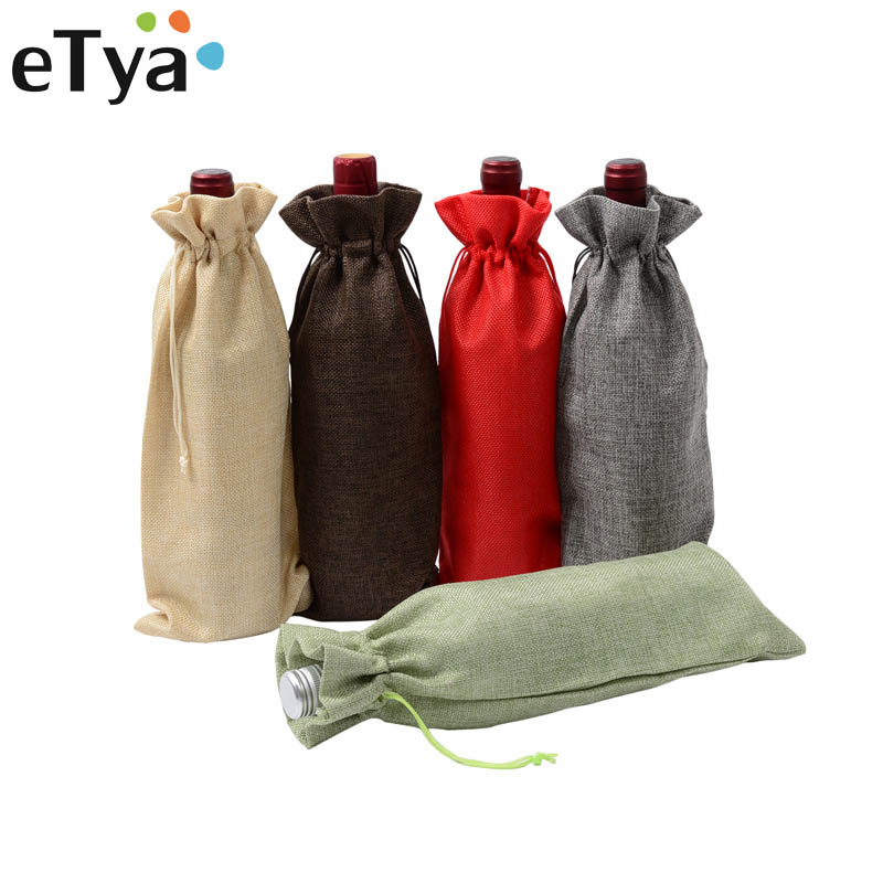 ETya Handmade Drawstring Bags Party Christmas Gift Pouch Bottle Jewelry Gift Packaging Bags Fashion Coin Storage Drawstring Bag