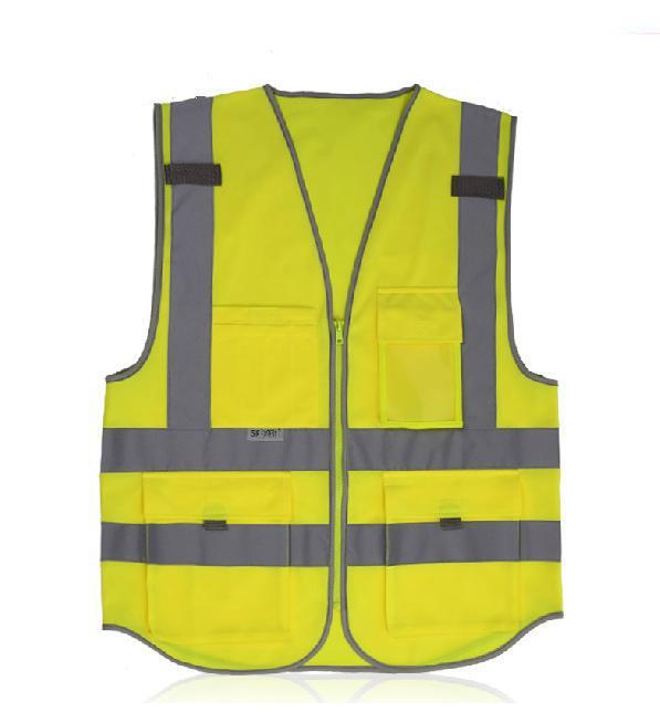 Multi-function pocket reflective vest/many pockets  reflective overalls extended hong kong style oxford cloth long sleeve raincoat warning reflective waterproof outdoor overalls many pockets printable