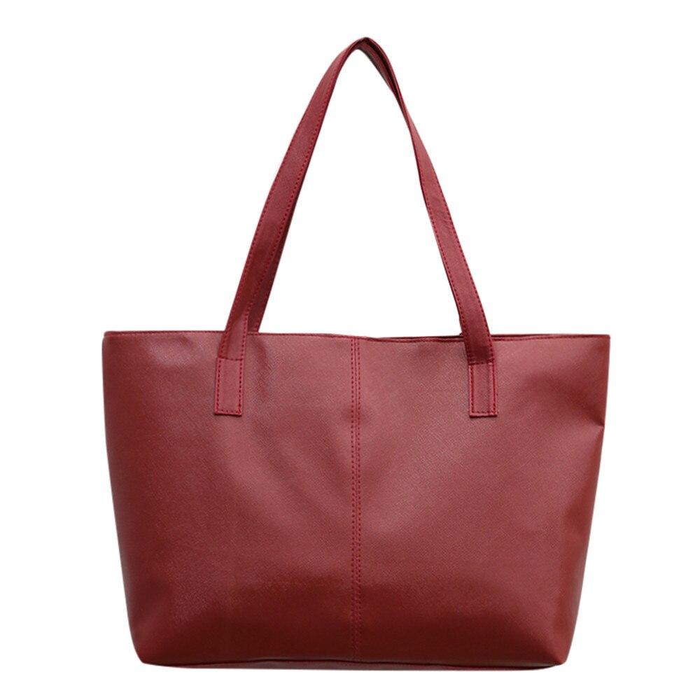 Женская кожаная сумка, роскошная Брендовая женская черная сумка, мягкая большая сумка-мессенджер на плечо, простая сумка для покупок, женская сумка#5 - Цвет: Красный