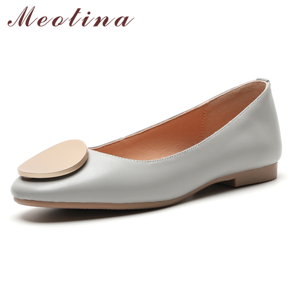 Meotina Women Shoes Ballet-Flats Slip-On Real-Leather Spring Casual Boat Gary-Size Natural