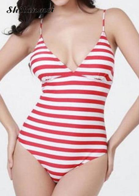 e7a2ece576 Striped one piece Swim sport suits Black Pink Bikini Lady Sexy Swimwear  Bikini wire free