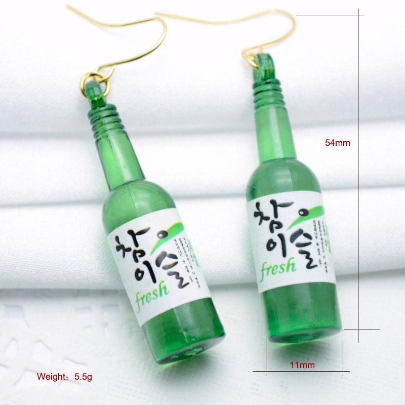 2019 Sommerstil Ny personlig ølflaske Formet Drop Earring Akryl - Mode smykker - Foto 3