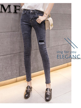 Jeans for Women black Jeans High hole Waist Jeans High Elastic plus size Stretch Jeans washed denim skinny pencil pants 1725 coyote valley 2017 hot style fine elastic jeans women s cotton hole in pencil and feet high quality jeans high waist jeans