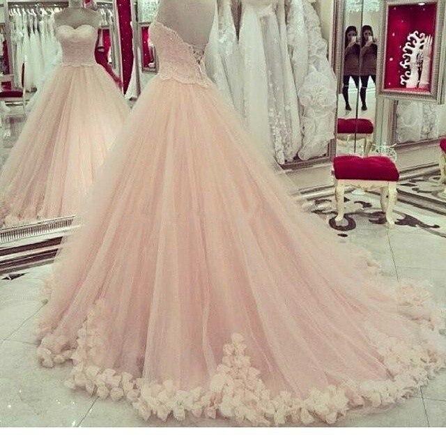 Мягкий Тюль Бальное платье Милая Кружева Лиф Розетки Розовые Свадебные Платья