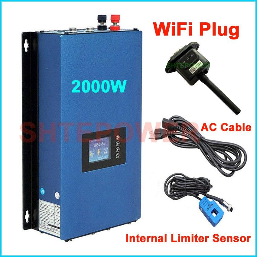 2000W Battery Discharge Power Mode/MPPT Solar Grid Tie Inverter 2KW with Limiter Sensor DC 45 90V AC 220V 230V 240V PV connectedInverters & Converters   -