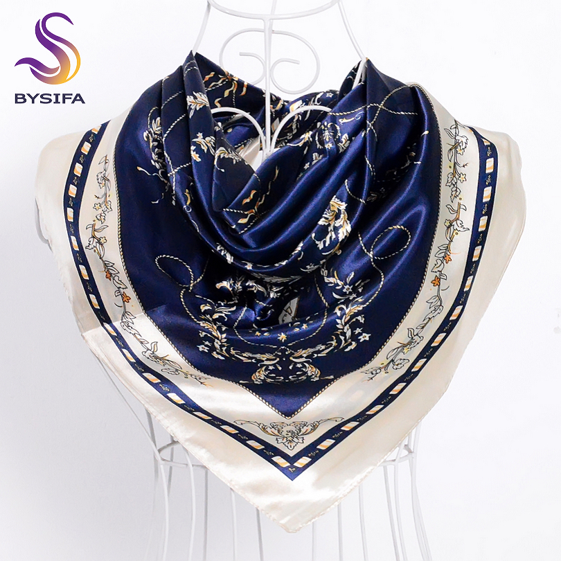 [BYSIFA] Navy Blue Beige Female Satin Silk Scarf Shawl Fashion Accessories Women Chain Flowers Pattern Autumn Winter Scarves