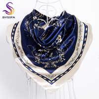 [BYSIFA] Navy Blue Beige Female Satin Silk Scarf Shawl Fashion Accessories Women Chain Flowers Pattern Autumn Winter Scarves