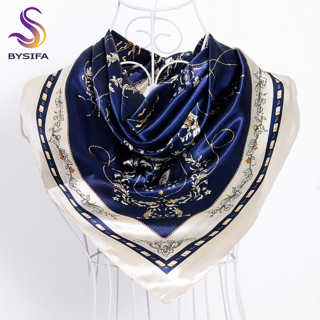 d417bb98bff7  BYSIFA  Marine Bleu Beige Femelle Satin de Soie Écharpe Châle Accessoires  De Mode Femmes