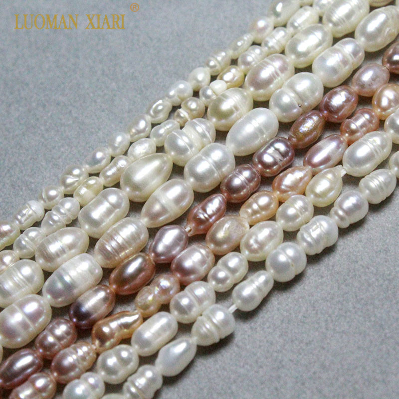 Fine Pink White 100% Natural Freshwater Pearl  Rice Shape Beads For Jewelry Making DIY  Bracelet Necklace 3-5mm Strand  14''