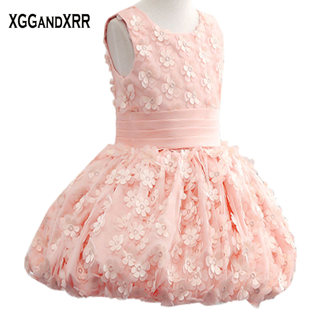 New Arrival Pink Tulle Ball Gown Flower Girl Dresses 2018 Scoop