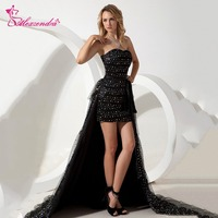 Alexzendra Black Beaded Strapless Sexy Prom Dresses with Detachable Train High Low Party Dress Evening Dresses Plus Size