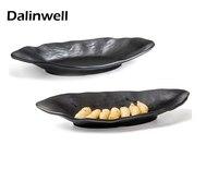 Unbreakable Modern Designs Dinnerware Irregular Shaped Matt Black Melamine Japanese Soy Sushi Sauce Dish Plate Food