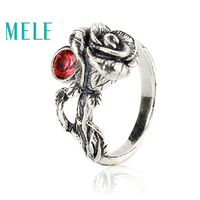 Natural Chinese Classical Style Silver 925 Jewelry Garnet Rose Retro Ring For Women Adjustable Stereoscopic Engraving