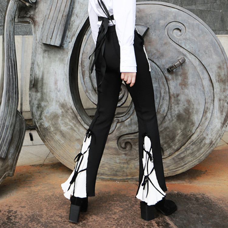 Fashion women Spring Leisure Trousers Restoration Press Folded Butterfly Tie Bell Pants black boot cut flare trousers pantalon