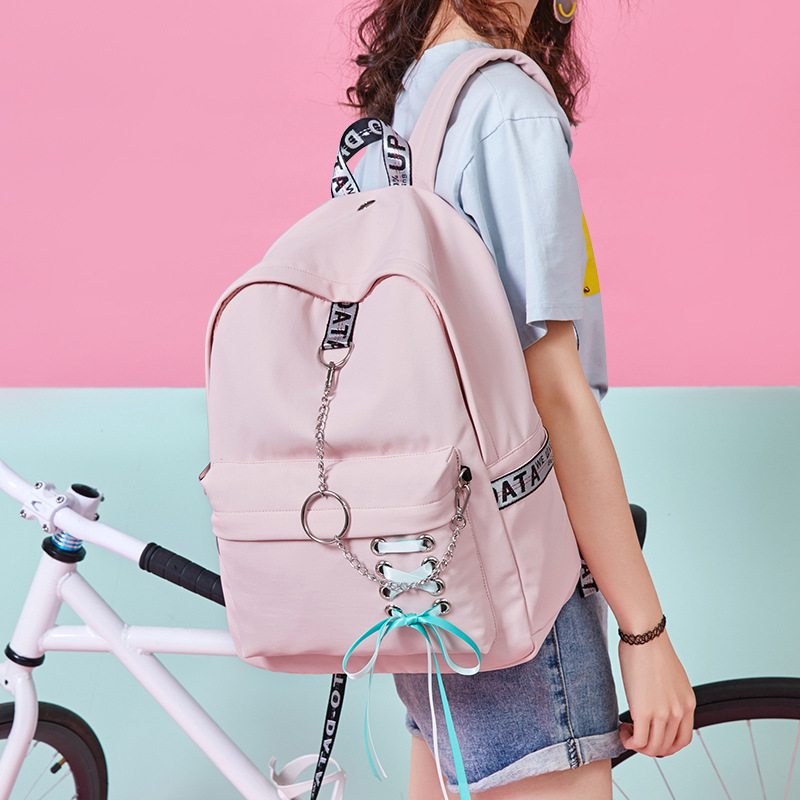 2019 Fashion Girl Schoolbag Students Pink Laptop Backpack School Bags For Teenage Girls Women Backpacks Mochila infantil Escolar-in School Bags from Luggage & Bags