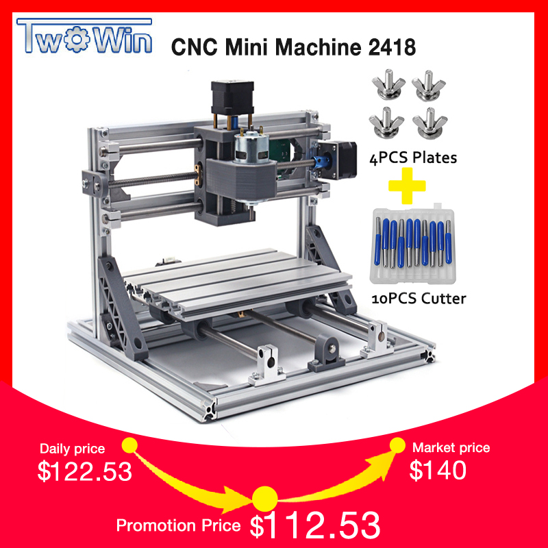 TWOWIN CNC 2418 Mini CNC Laser Machine,Working Area 24x18x4.5cm,3 Axis PCB Milling Machine with GRBL Control,CNC Router,CNC2418