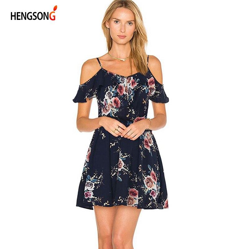 Hengsong 2018 New Floral Printed Dress Women Summer Sexy Off Shoulder Print Strap Dress Women Party Dress 717459