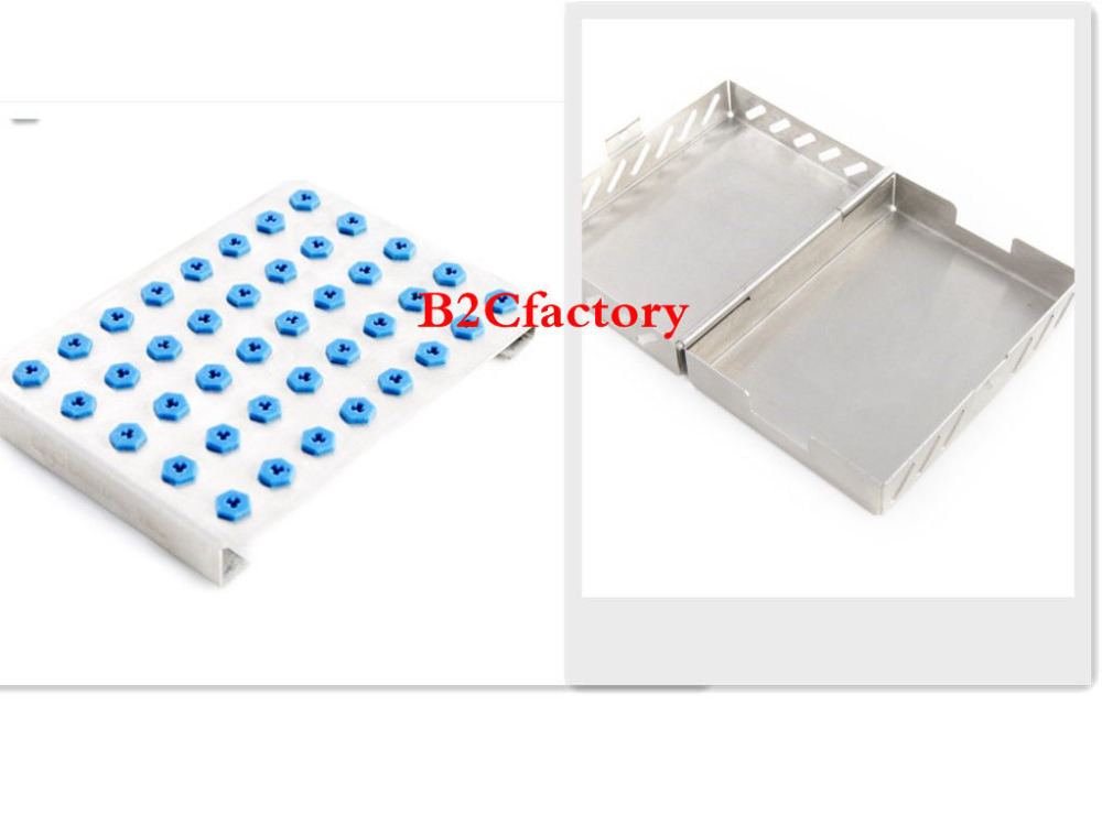 цена на Dental 40-Holder Implant Drill Bur Tray with Stainless Case Sterilization Sale