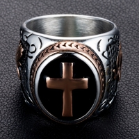 DANZE Knight Templar Crusaders Logo Mens Signet Rings Cross Titanium Steel Medieval Anel Masculino Jewelry For Gifts Size 7#-13# 4