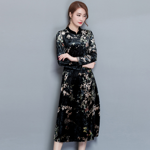 3bb9c7c803fd3 Detail Feedback Questions about 2018 Spring Ethnic Style Vintage Cheongsam  Women Dress Gold Velvet Midi Print Plus Size Chinese Style Women s Clothing  on ...