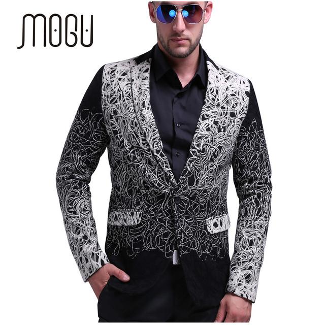 Mogu mens slim fit casual blazer moda chaqueta de los hombres blazer diseños de Un Solo Botón Para Hombre Floral Chaqueta EE.UU. Tamaño Gris de Los Hombres Blazer
