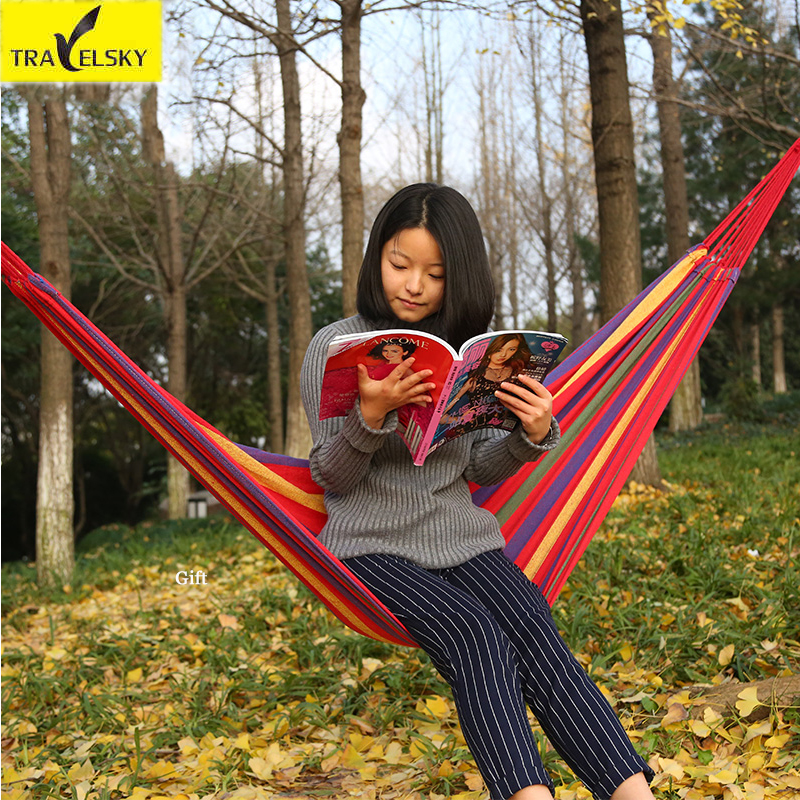 Travelsky Portable Outdoor Camping Hammocks Garden Swing Double Folding Adult Canvas Stripe Outdoor Hammock Free Shipping 2 people portable parachute hammock outdoor survival camping hammocks garden leisure travel double hanging swing 2 6m 1 4m 3m 2m
