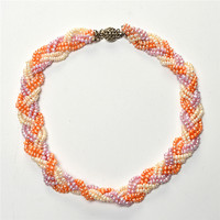 JIUDUO Western Jewellry Freshwater Pearl Necklace Muti Strand Colorful 14 15mm Natural Pearl Necklace