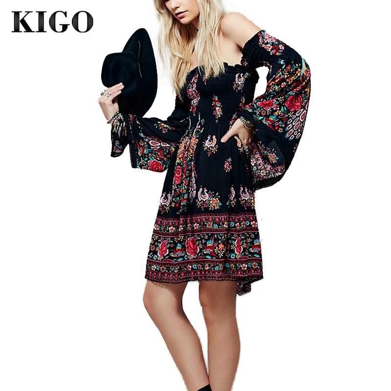 KIGO Summer Bohemian Sexy Slash Neck Black Floral Boho ...