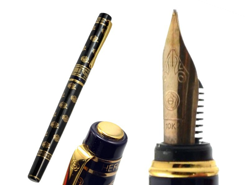8pcs/lot Signature Fountain pen Black M 10 K Solid Gold Nib NIB  HERO 9106  Executive  standard pen Free  Shipping hero 329 ultra thin retro fountain pen black red green 10 pcs