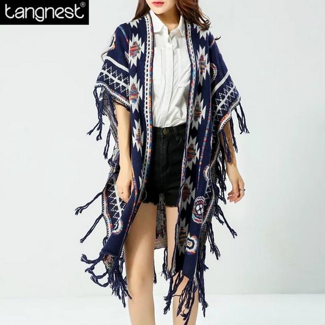 6433675380ec4f Tangnest cópia do vintage camisola de malha capa 2017 outono das mulheres  da moda batwing grande borla poncho capa xale casaco grande tamanho wzm1265  ...