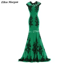 Green Mermaid Evening Dresses 2017 Cap Sleeve Special Occasion Actual Image Chiffon With Black Lace Formal Gowns For Women Wear