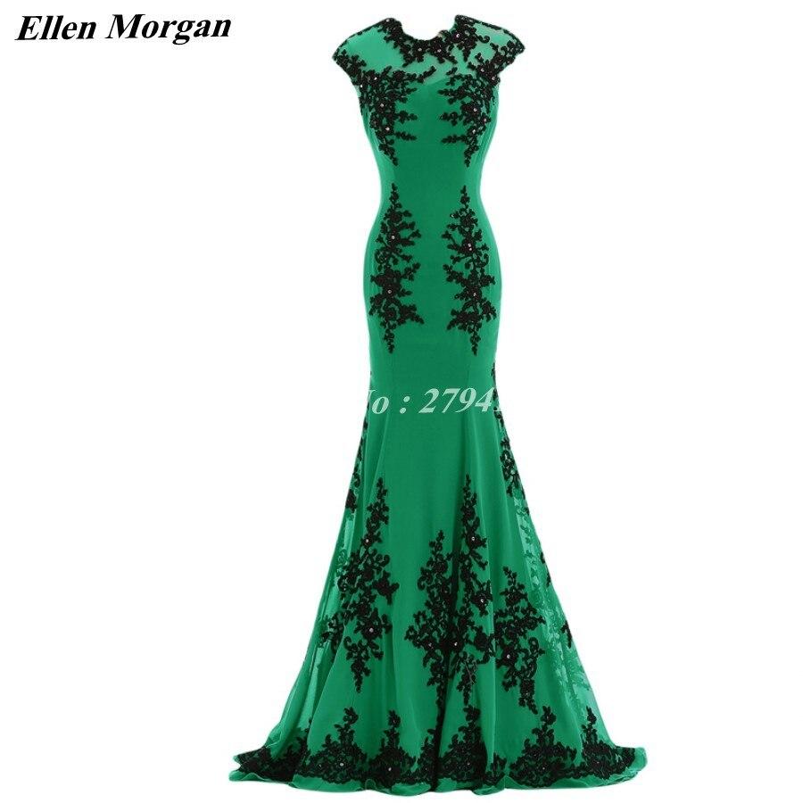 Green Mermaid Evening Dresses 2018 Cap Sleeve Special Occasion - Särskilda tillfällen klänningar - Foto 2